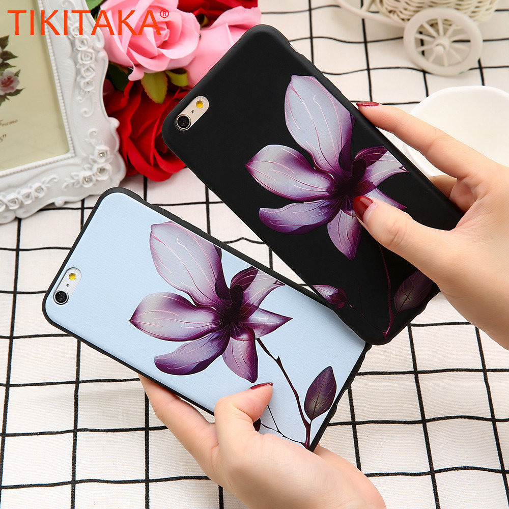 TIKITAKA Black&White Phone Cases For iphone 5 6 6s 6 plus 6s Plus 7 7 Plus With Engraved Lotus Exotic Flowers Phone Back Cover