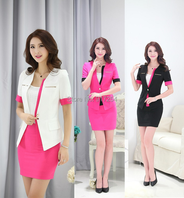 New Uniform Style 2015 Summer Formal Blazer Set Fashion Business Women Suits with Skirt and Tops Ladies Office Work Blazers