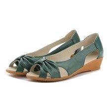 Delle Donne del Cuoio genuino Sandali 2019 Scarpe Basse Donna Estate Open Toe Cut out Sandalo Slip On Confortevole Femminile Casual calzature