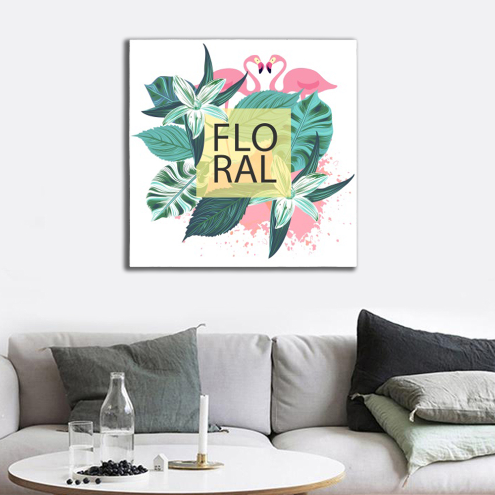 Laeacco Flamingo Floral Love Abstract Oil Painting Home Living Room Bedroom Wedding Decoration Painting on the Wall No Frame in Painting Calligraphy from Home Garden
