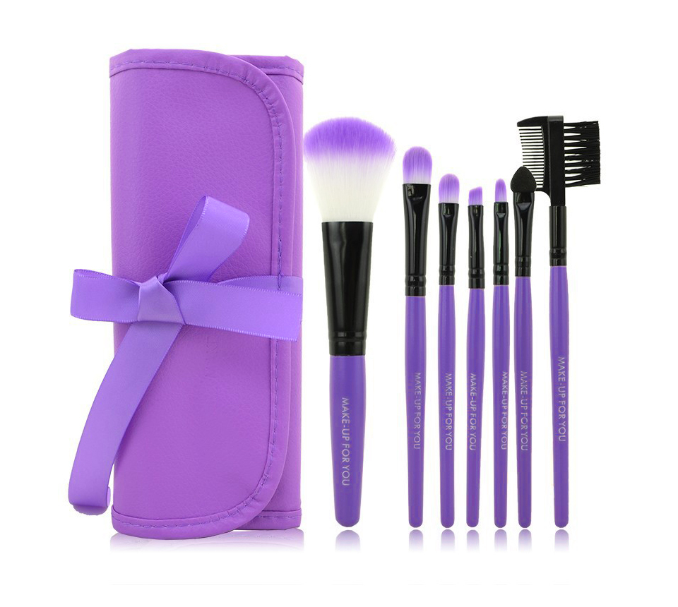 O.TWO.O Makeup Brushes Set 7pcs/lot Soft Synthetic Hair Blush Eyeshadow Lips Make Up Brush With Leather Case For Beginner Brush 24