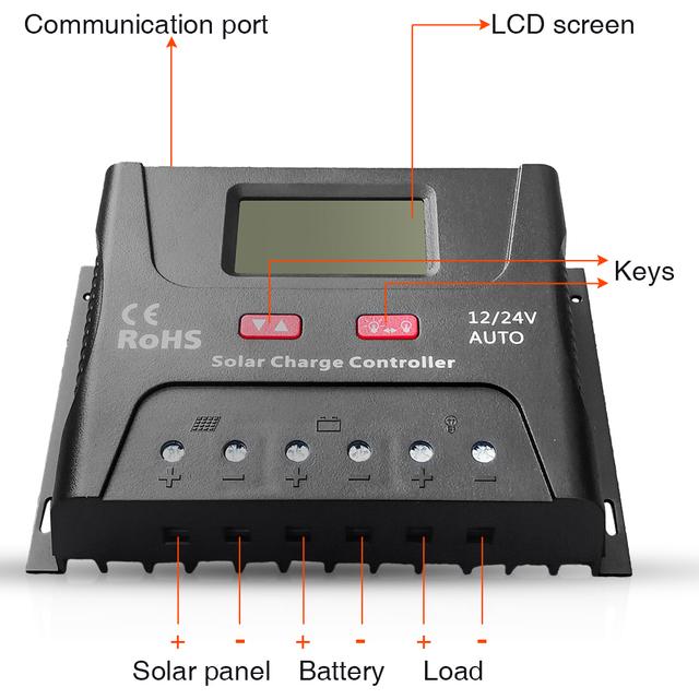 EASUN POWER Solar Controller Charge PWM 50A 60A LCD Voltage Regulator 12v 24v Solar Regulator Solar System Charger Controller