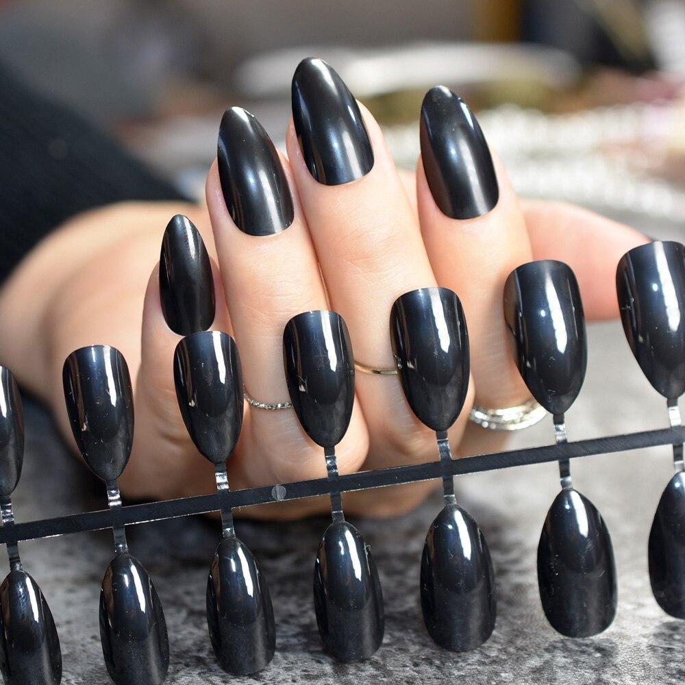 24pcs STILETTO Pointed Fake Nails Shine Black Medium Plastics Nail ...
