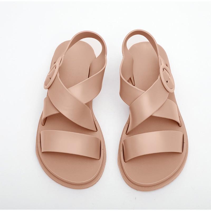 HTB17GcoX3mH3KVjSZKzq6z2OXXa5 MCCKLE Flat Sandals Women Shoes Gladiator Open Toe Buckle Soft Jelly Sandals Female Casual Women's Flat Platform Beach Shoes