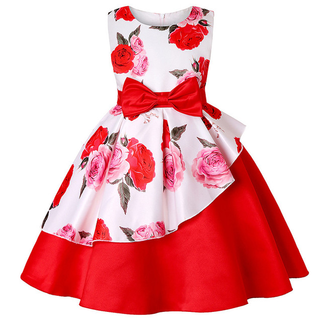 Flower Children Dresses For Girls Kids Formal Princess Dress For Girl Fashion Print Birthday Party Dress Christmas Clothing