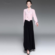 Fairy Dreams Women's Suits Two Piece Set Pink Chiffon Shirt Tops And Black Pants Wide Leg Trousers LadY Office Fashion Clothing