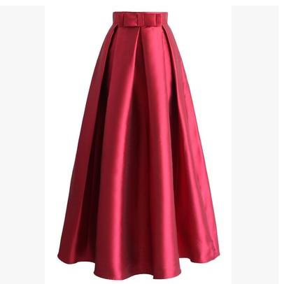 High Quality Bowtie Ball Gown Maxi Skirt 2019 Women Fashion Skirts Pleated Formal Skirt Silky Satin Skirt Muslim Faldas Jupe