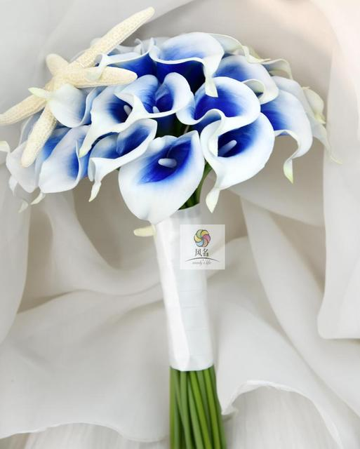 Handmade Wedding Bridal Bridesmaid Bouquets 30Pcs PU Calla Lily With ...