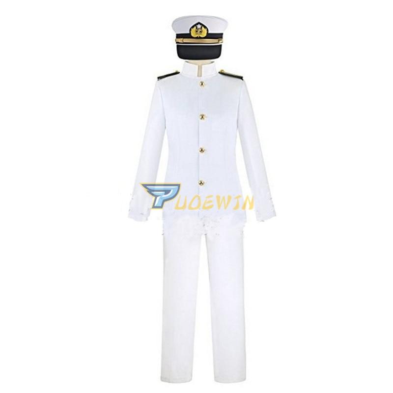 Anime Kantai Collection Teitoku T Admiral Uniforms Cosplay Costume 4 lot Custom Made
