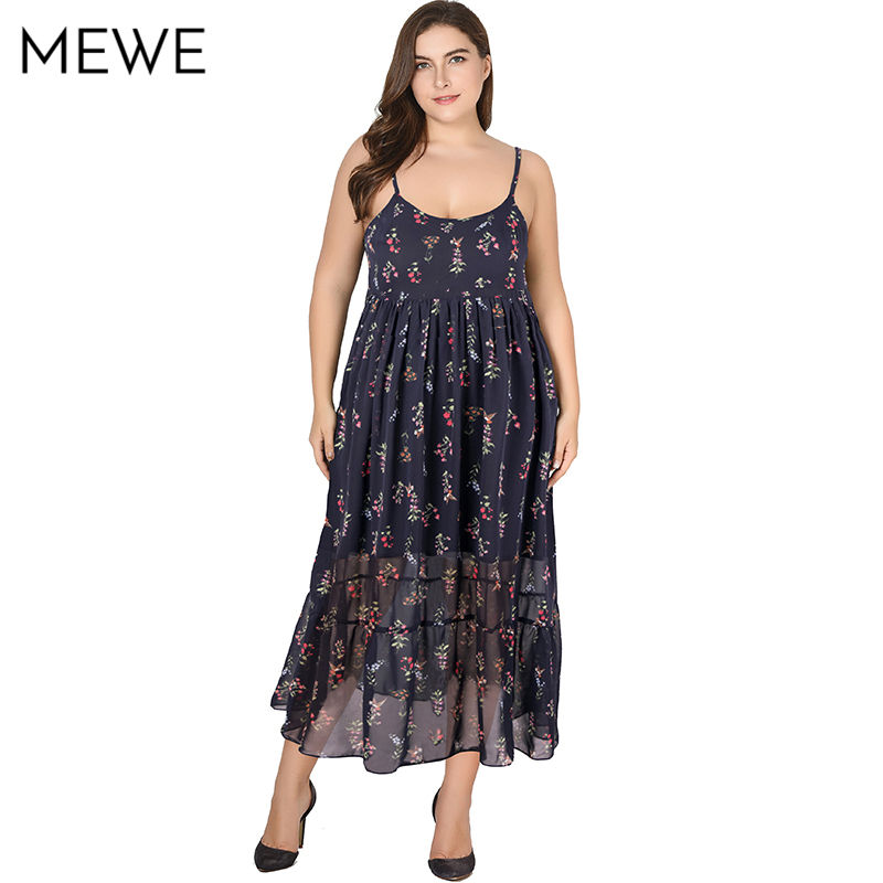 Women Summer Dress Plus Size Boho Beach Dress 6xl Sexy Floral Ruffle Long Dresses Maxi Spaghettie Strap Dresses Chiffon sundress