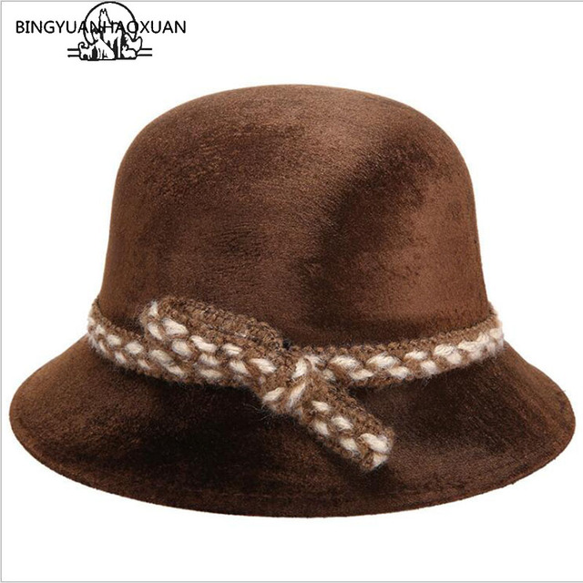 BINGYUANHAOXUAN Womens Gold velvet Sun Hat Autumn And Winter Fashion Floppy  Caps Ladies Outdoor Solid Wool Visor Hats Woman Caps aae3f894f28