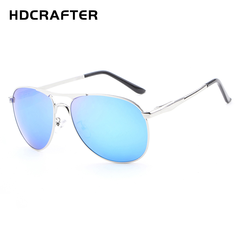 HDCRAFTER Brand Designer Sunglasses Polarized Lens Alloy Frame Blue Coating Mirror Sun Glasses oculos Male Eyewear