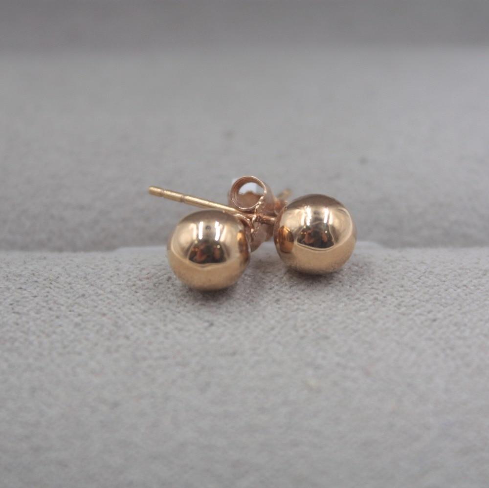 Pur 18 K or Rose boucles d'oreilles personnalisé petite boule lisse mignon boucles d'oreilles 1.3-1.5g tous les jours bijoux petite amie meilleur cadeau