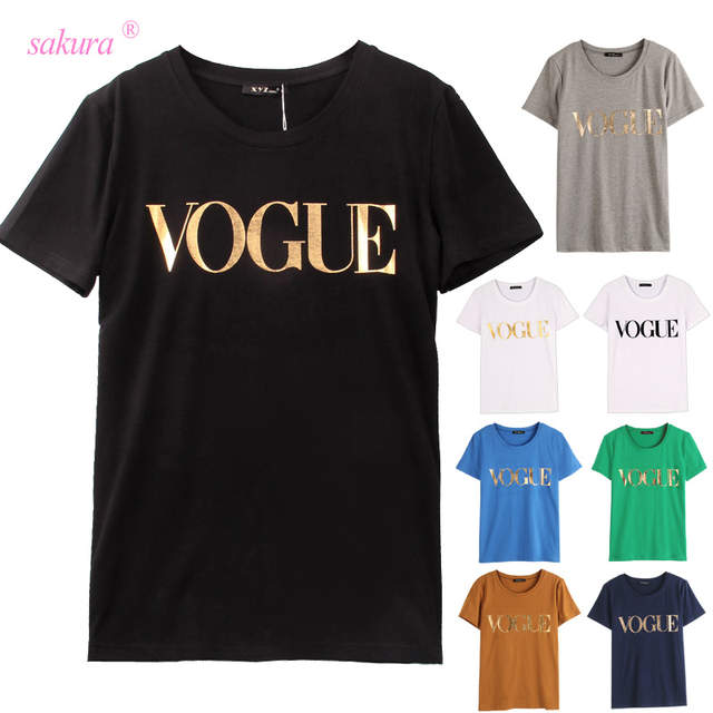 409f6a9ef46a placeholder 100% Cotton 8 Colors S-4XL Fashion Brand T Shirt Women VOGUE  Printed T