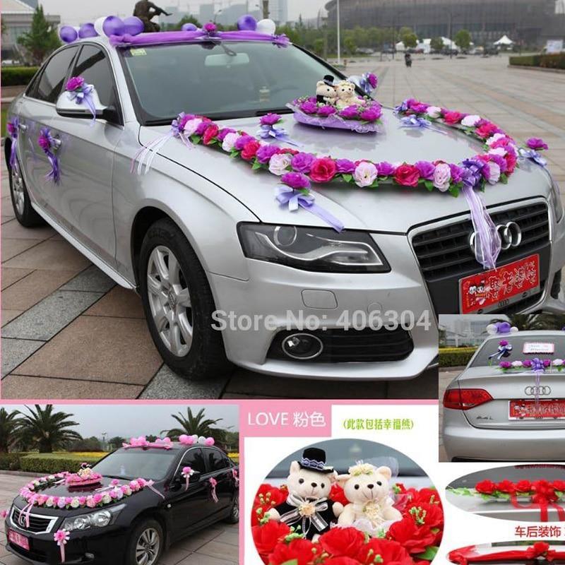 Künstliche Blumen 1 Satzlos Hochzeit Auto Dekoration Blumen Set Rot