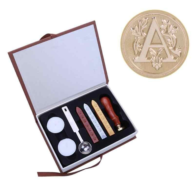26 Ancient Alphabet Letter Wood Stamp Metal Sealing Wax Stamps Sticks Candles Set Wood Handle Wedding Invitations Seal Stamps