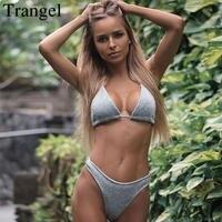 Trangel Micro bikini Sexy Sliver Złoty Brokat Bikini Ustawić Halter kobiety Stroje Kąpielowe Biquini Brazylijski stringi Kostium Kąpielowy strój kąpielowy