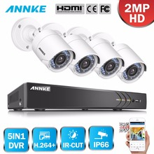 ANNKE 8CH HD 1080P Security Camera System DVR kit and 4PCS 2MP Indoor Outdoor Weatherproof security camera IR Night 1TB HDD