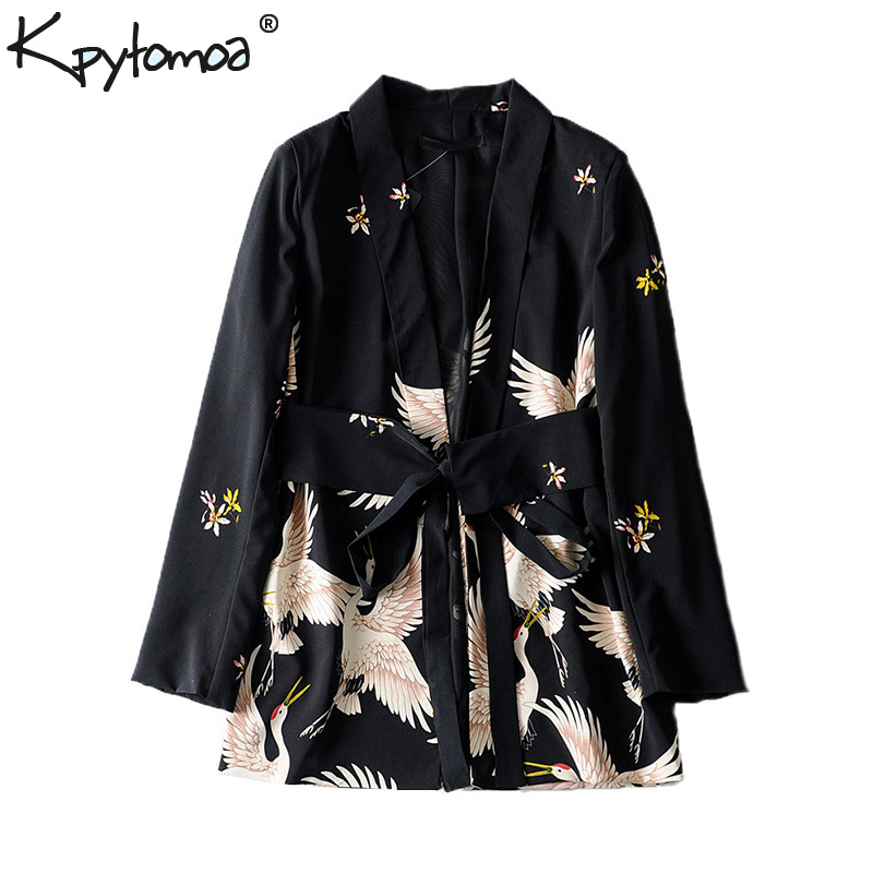 Vintage Stylish Cranes Print With Sashes Blazers Coat Women 2020 Fashion Long Sleeve Ladies Outerwear Casual Casaco Femme