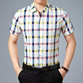 New Style Summer Wear Slim Plaid Short Sleeve Fashion Shirts Turn down Collar Casual Clothing Single Breasted Business Tops