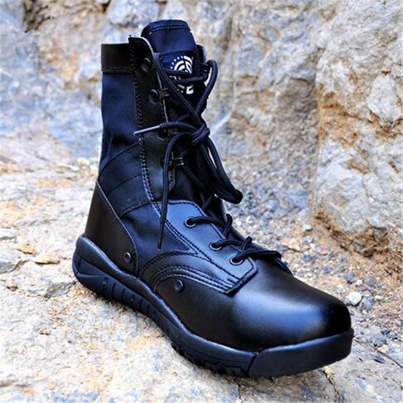 Men Women Spring Autumn Outdoor Hiking Climbing Ultralight Leather Army Boot Bota Tactical Desert Jungle Assault Boots High Shoe