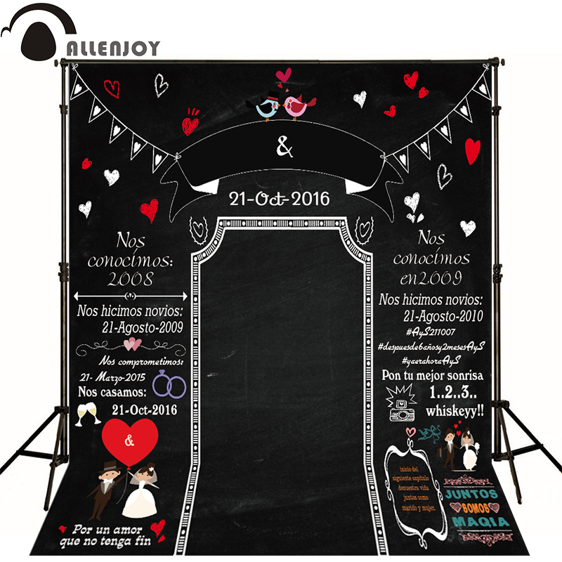 Allenjoy Photographic backdrop Blackboard romantic wedding birds original design custom photography background for photo studio allenjoy background for photo studio full moon spider black cat pumpkin halloween backdrop newborn original design fantasy props