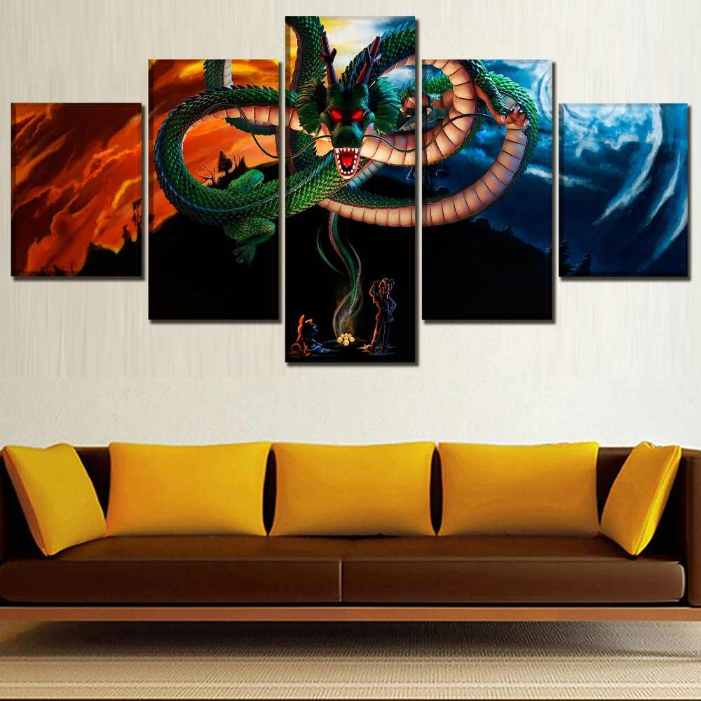 Top-Rated Canvas Print 5 Pieces Animation Dragon Ball Super Dragon Poster Wall Art Decorative Modular Framework For Living Room