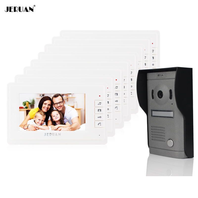 JERUAN NEW 7 inch Color LCD Wired Video Door Phone Doorbell Home Entry Intercom Kit System 8 Monitor 1 Infrared night Camera homefong villa wired night visual color video door phone doorbell intercom system 4 inch tft lcd monitor 800tvl camera handfree