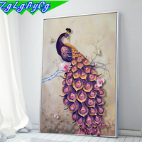 5D Diamond Embroidery DIY Beautiful Blue Peacock Pictures Diamond Mosaic Needlework Cross Stitch Kits Home
