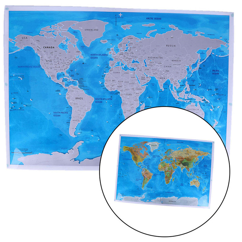 1 Pcs Deluxe Scratch Edition World Map Travel World POSTER Map Oceans DIY Kids