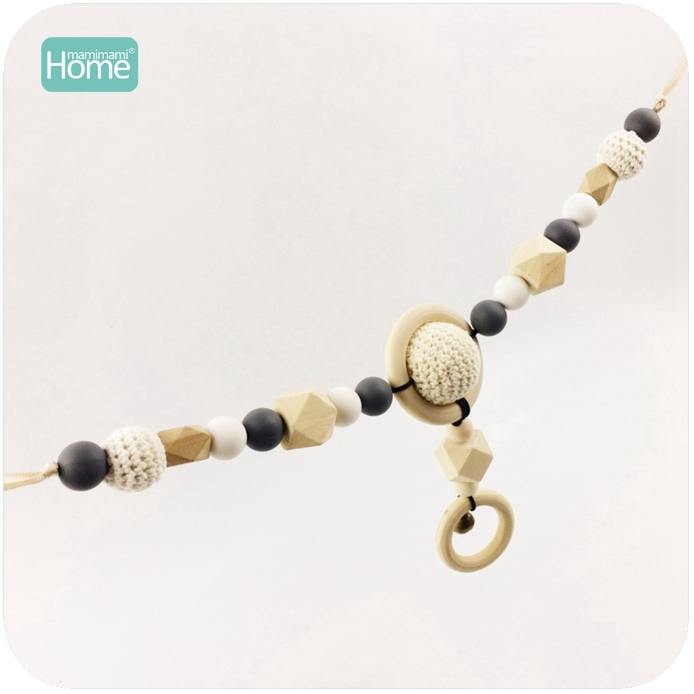 MamimamiHome Baby Toy 2pcs Crochet Beads Wooden Fish Pram String Silicone Beads Stroller Chain Montessori Toys Baby Rattle