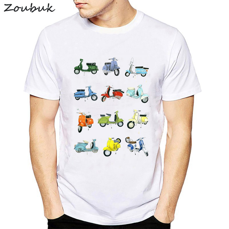 2018 new vespa men   t     shirt   fashion summer short sleeve tshirt harajuku Motorcycles Scooters cartoon print tops tee   shirt   homme