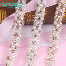 WENXI 5YARDS Wholesale Crystal Rhinestone Trim With Pearls Beaded Rhinestone Bridal Applique For Wedding Gown Or Sash