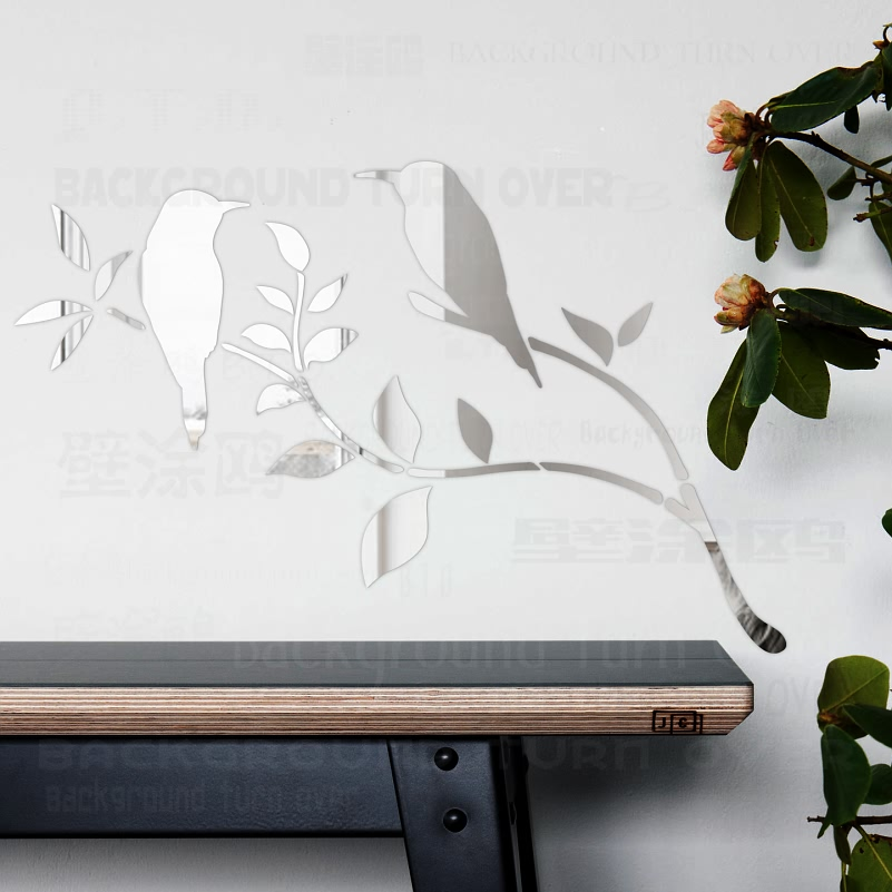 Graceful Magpie Bird Tree 3D Dekorative Akryl Speil Vegg Klistremerker Hjem Stue Bedroom Decor Room Dør Dekorasjon R053