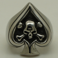 cross bone skull on poker spade ace biker heavy 316L stainless steel ring
