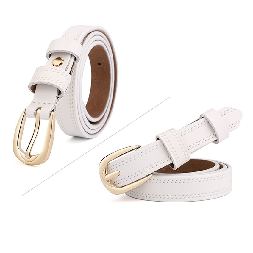 CASTELLES Split Leather Belts For Women Thin Strap Fashion Belt Female Genuine Leather Woman Metalic Buckle Girls High Quality (1)