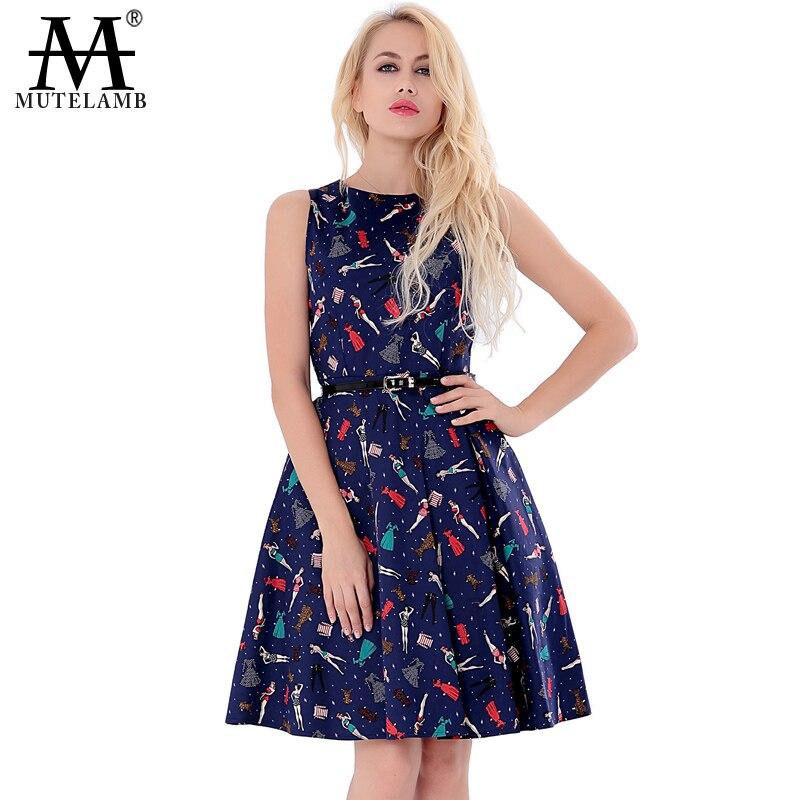 Mutelamb 2016 Plus Size Women Vintage Dress Summer Style ...