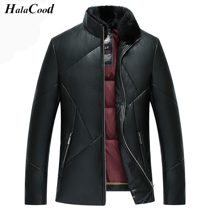 Hot Sell High Quality Mens Fashion Autumn Winter PU Leather Jacket Men Thick Warm Down Jackets Coat Male Casual Motorcycle Coats
