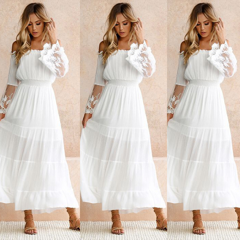 e3ce72e1ff 2018 Solid color Boho style long dress women Off shoulder beach summer  dresses Vintage chiffon white