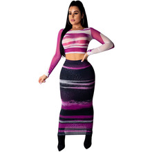 Two 2 Piece Set Striped Print Sexy Women Long Sleeve Mesh Bodycon Bandage Maxi Dress High Waist See Through Club Party Dresses chic long sleeve printed waist bandage bodycon dress for women