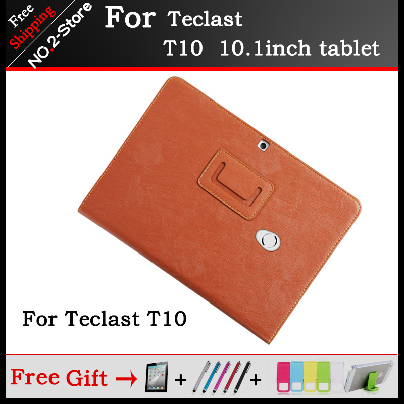 Fashion 3-Fold Mangetic Closure Silk Flip Stand PU Leather Case for Teclast T10 10.1inch tablet pc+ protector + stylus gifts ultra thin smart flip pu leather cover for lenovo tab 2 a10 30 70f x30f x30m 10 1 tablet case screen protector stylus pen