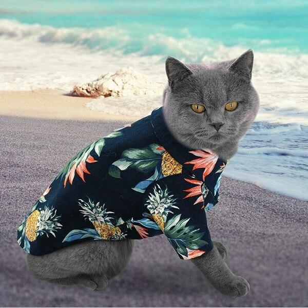 1 Pc Dog Clothes Hawaiian Shirt Summer Pet Cat Puppy Clothes Bulldog Plaid Pet Apparel Pet Products Small Dog Cat Vests T-shirt Save 50-70%