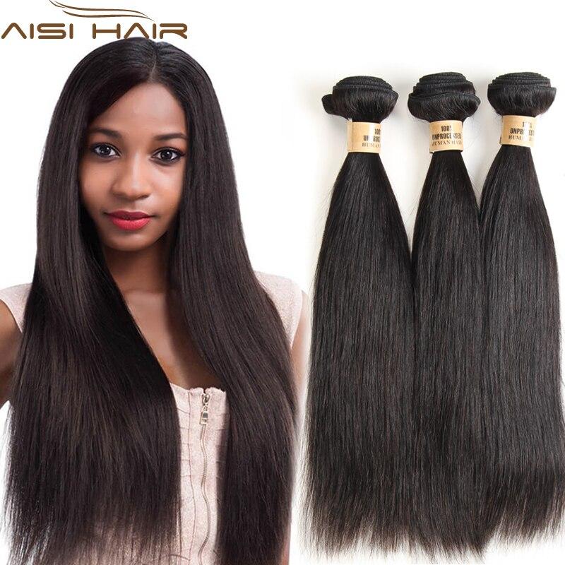 AISI HAIR Straight Hair Weave Natural Black Brazilian Straight Weave Bundles 100% Human Hair Weave 10-24 Inch Hair Extension