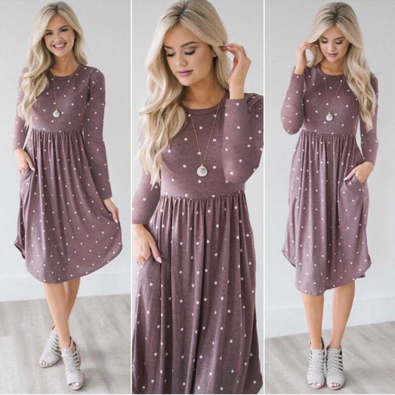 Pocket Elegant Knee-length Dress High Quality Autumn 2019 Casual Women Dress Long Sleeve O-neck Dot Printed Loose Dress Vestidos