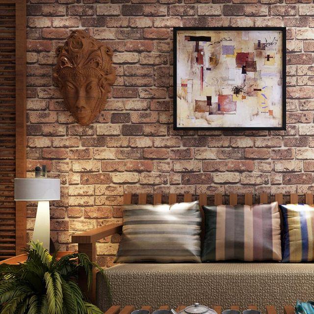 Chinesischen Stil Rot Ziegel Stein 3D Geprägte Tapete Wohnzimmer