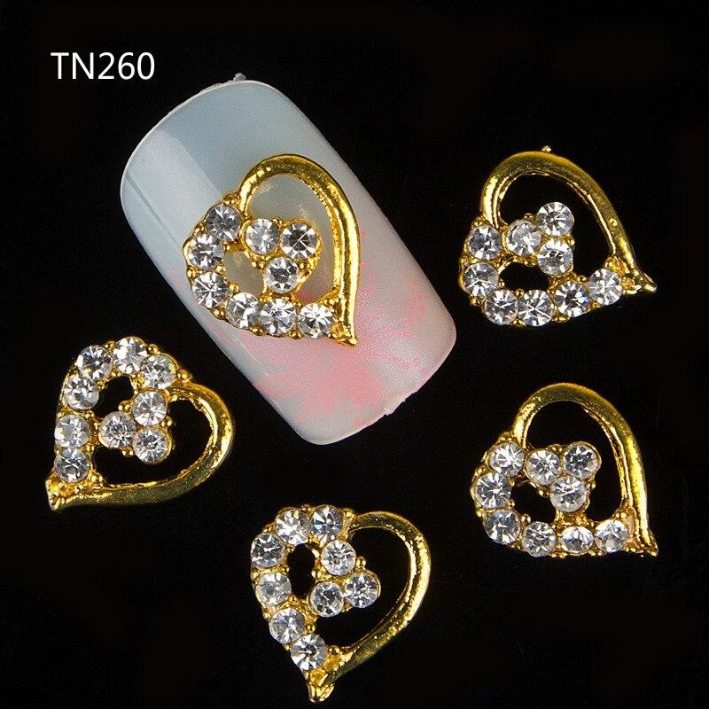 10pcs Golden Metal Heart Rhinestones 3d Nail Art Decorations, Alloy Nail Stickers Charms Jewelry for Nail Gel/Polish Tools TN260