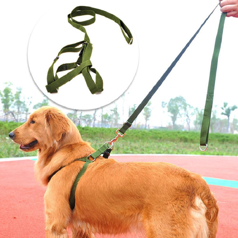 Army green nylon Medium large dog leash and harness set Durable big dog chest strap dog lead leashes Pet traction rope dog chain