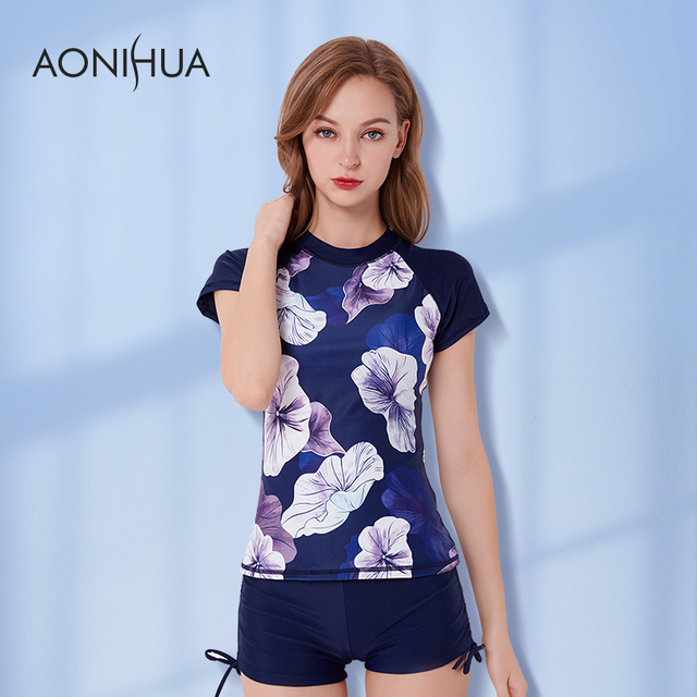 76b84e883b AONIHUA Swimwear Plus Size Printed Short Sleeve Tops And Boyshorts S-4XL 2  Piece Large