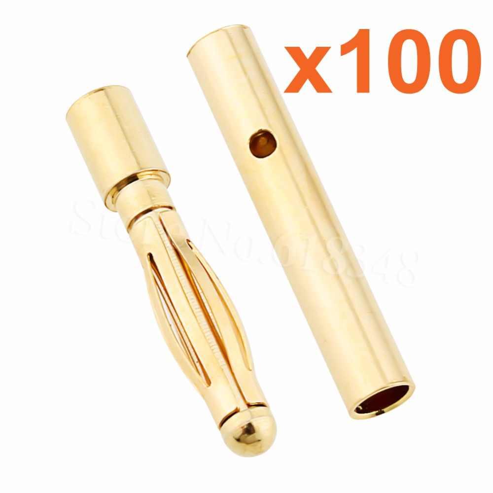 Оптовая продажа 100 пар 2 мм золото типа Пуля банан разъем RC батарея ESC Замена