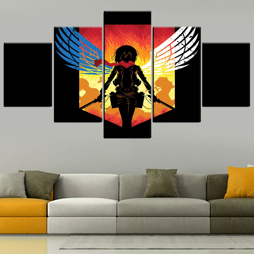 Us 3 56 48 Off One Set Modular 5 Panel Anime Attack On Titan Painting Modern Home Decorative Mikasa Ackerman Poster On Canvas Print Style Type In
